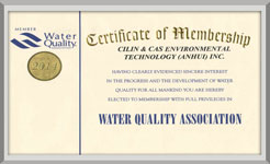 American water quality association membership certificate